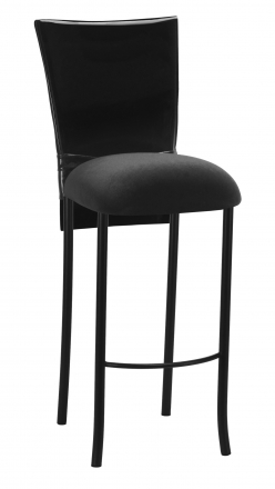 Black Patent Barstool Cover with Bow Belt and Cushion on Black Legs (2)