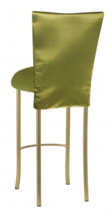 Lime Satin 3/4 Length Barstool Cover and Cushion on Gold Legs (1)