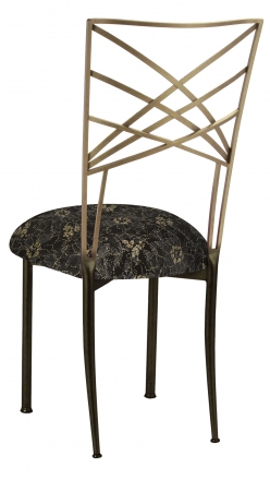 Two Tone Fanfare with Black Lace with Gold and Silver Accents over Black Knit Cushion (1)