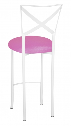 Simply X White Barstool with Pink Glitter Knit Cushion (1)