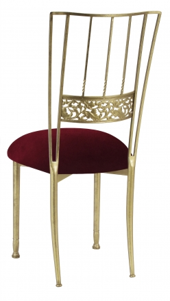 Gold Bella Fleur with Cranberry Velvet Cushion (1)