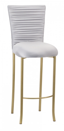 Chloe Silver Stretch Knit Barstool Cover with Rhinestone Accent Band and Cushion on Gold Legs (2)