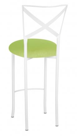 Simply X White Barstool with Lime Green Velvet Cushion (1)