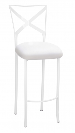 Simply X White Barstool with White Suede Cushion (2)