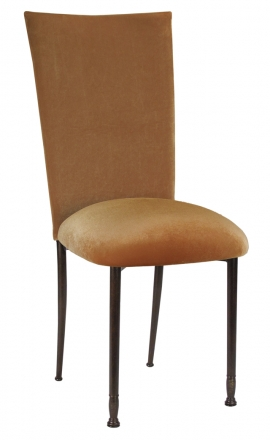 Gold Velvet Chair Cover and Cushion on Mahogany Legs (2)