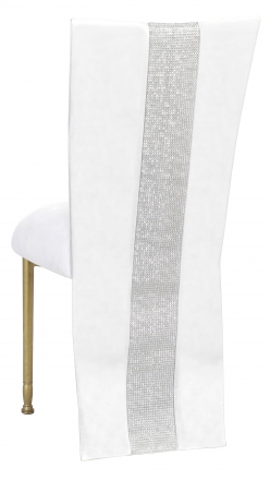 White Suede Jacket with Rhinestone Center and Cushion on Gold Legs (1)