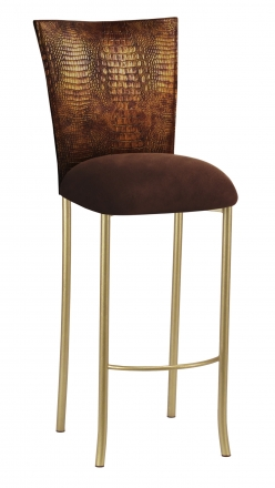 Bronze Croc Barstool Cover with Chocolate Suede Cushion on Gold Legs (2)