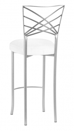 Silver Fanfare Barstool with White Linette Boxed Cushion (1)