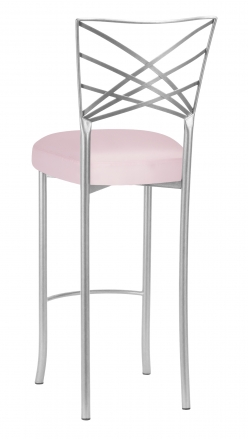 Silver Fanfare Barstool with Soft Pink Satin Boxed Cushion (1)