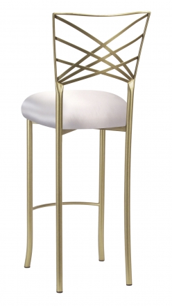 Gold Fanfare Barstool with Platinum Satin Cushion (1)