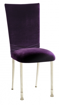 Deep Purple Velvet Chair Cover with Rhinestone Accent and Cushion on Ivory Legs (2)