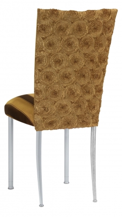 Gold Circle Ribbon Taffeta Chair Cover with Gold and Brown Stripe Cushion on Silver Legs (1)