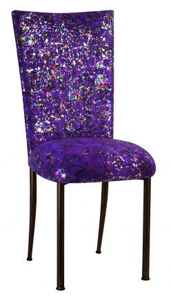 Purple Paint Splatter Chair Cover and Cushion on Brown Legs (2)