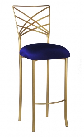 Gold Fanfare Barstool with Navy Stretch Knit Cushion (2)