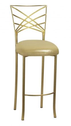 Gold Fanfare Barstool with Metallic Gold Knit Cushion (2)