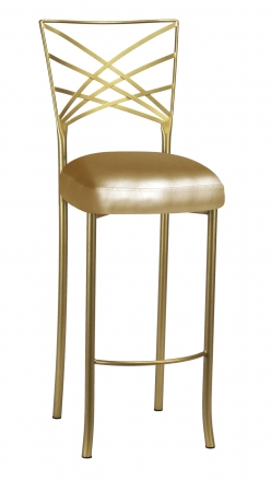 Gold Fanfare Barstool with Gold Leatherette Boxed Cushion (2)