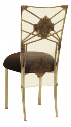 Gold Fanfare with Organza Medallion 3/4 Chair Cover and Chocolate Suede Cushion (1)