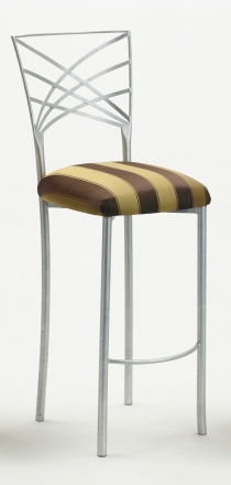 Silver Fanfare Barstool with Gold and Brown Stripe Cushion (2)