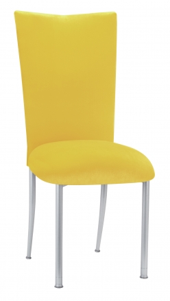 Sunshine Yellow Velvet Chair Cover and Cushion on Silver Legs (2)