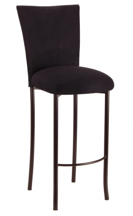 Black Suede Barstool Cover and Cushion on Brown Legs (2)