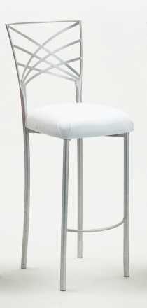Silver Fanfare Barstool with White Leatherette Cushion (2)
