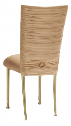 Chloe Beige Stretch Knit Chair Cover with Jewel Band and Cushion on Gold Legs (1)