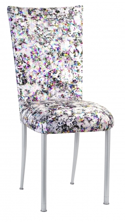 White Paint Splatter Chair Cover and Cushion on Silver Legs (2)