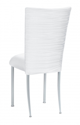 Chloe White Stretch Knit Chair Cover and Cushion on Silver Legs (1)