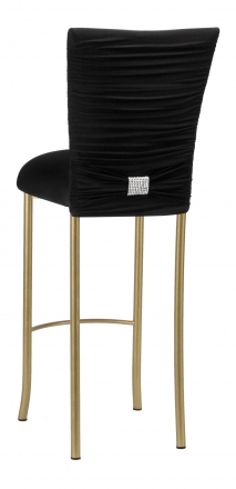 Chloe Black Stretch Knit Barstool Cover with Rhinestone Accent Band and Cushion on Gold Legs (1)