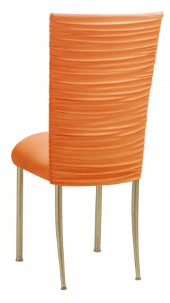 Chloe Tangerine Stretch Knit Chair Cover and Cushion on Gold Legs (1)