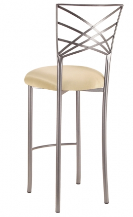 Silver Fanfare Barstool with Champagne Bengaline Cushion (1)