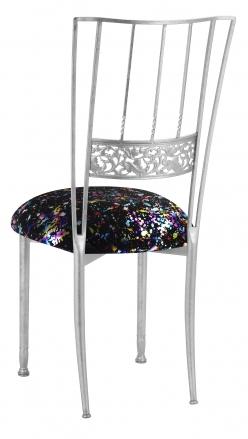 Silver Bella Fleur with Black Paint Splatter Knit Cushion (1)