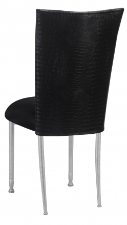Matte Black Croc Chair Cover with Black Stretch Knit Cushion on Silver Legs (1)