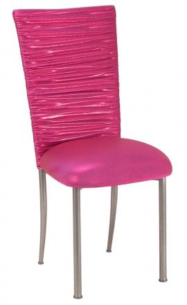 Chloe Metallic Fuchsia Stretch Knit Chair Cover and Cushion on Silver Legs (2)