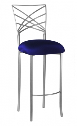 Silver Fanfare Barstool with Navy Stretch Knit Cushion (2)