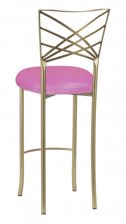 Gold Fanfare Barstool with Pink Glitter Knit Cushion (1)