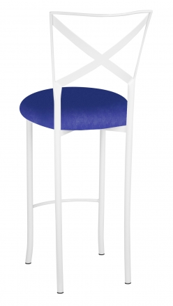 Simply X White Barstool with Royal Blue Stretch Knit Cushion (1)