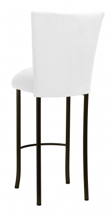 White Suede Barstool Cover and Cushion on Brown Legs (1)