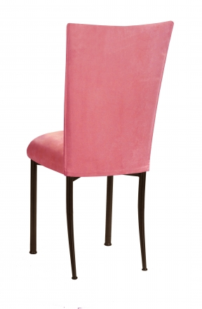 Raspberry Suede Chair Cover and Cushion on Brown Legs (1)