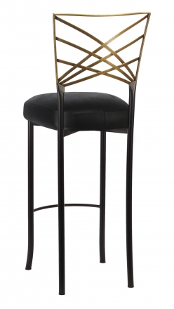 Two Tone Gold Fanfare Barstool with Black Leatherette Boxed Cushion (1)