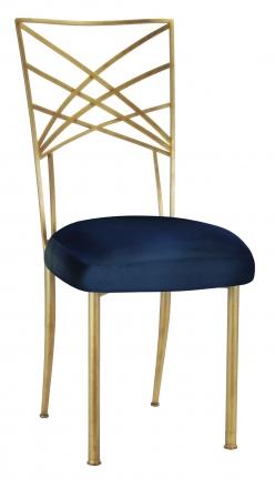 Gold Fanfare with Midnight Blue Taffeta Cushion (2)