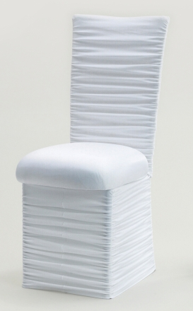 Chloe White Stretch Knit Chair Cover with Jewel Band, Cushion and Skirt (2)