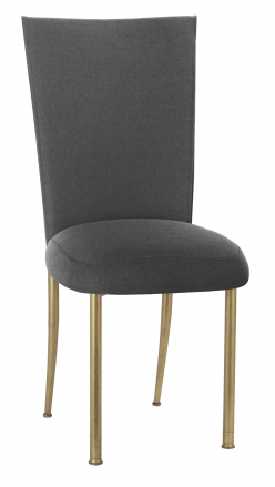 Charcoal Linette Chair Cover and Boxed Cushion on Gold Legs (2)