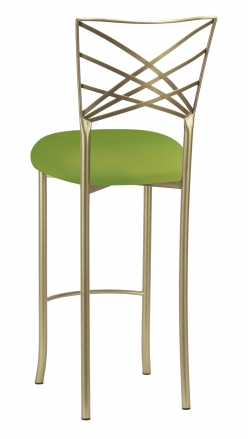 Gold Fanfare Barstool with Lime Knit Cushion (1)