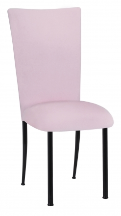 Soft Pink Velvet Chair Cover and Cushion on Black Legs (2)