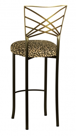 Two Tone Fanfare Barstool with Leopard Boxed Cushion (1)