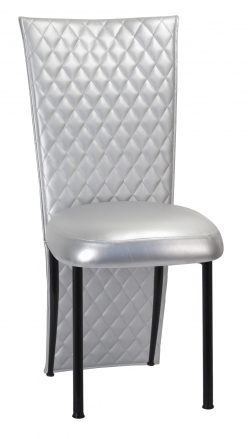 Silver Quilted Leatherette Jacket and Silver Stretch Vinyl Boxed Cushion on Black Legs (2)