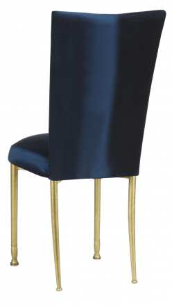 Midnight Blue Taffeta Chair Cover and Boxed Cushion on Gold Legs (1)