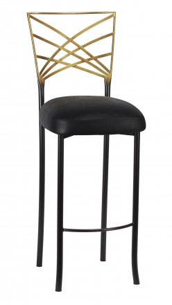 Two Tone Gold Fanfare Barstool with Black Leatherette Boxed Cushion (2)
