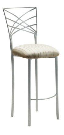 Silver Fanfare Barstool with Ivory Sateen Stripe Cushion (1)